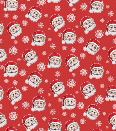Seamless pattern with Santa Claus and snowflakes on a red background. Christmas illustration. Pattern for wallpaper, packaging, wrapping paper, textile, fabric.