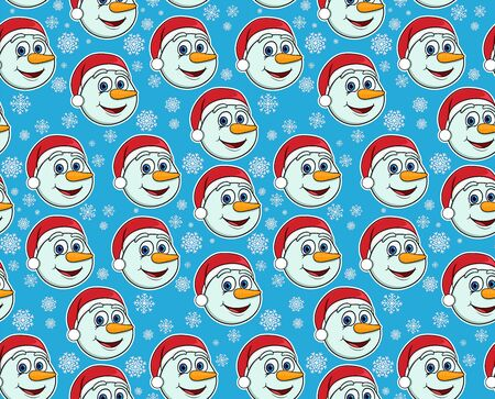 Seamless pattern with snowmen and snowflakes on a blue background. New Year, Christmas illustration. Template for wallpaper, packaging, textile, fabric.