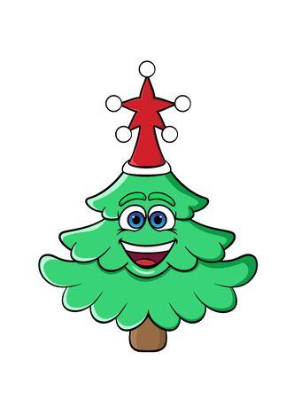 Christmas cartoon tree smiling. New Year's cap on his head. vector