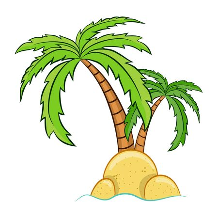 two cartoon palm trees on the island vector