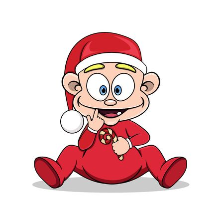 Cartoon baby in a Christmas hat with a lollipop in his hands. vector image