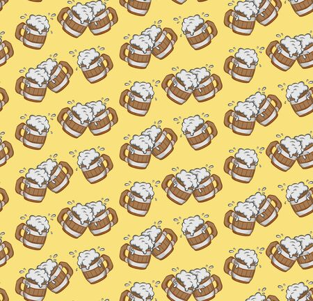 seamless pattern with wooden beer mugs on a yellow background vector