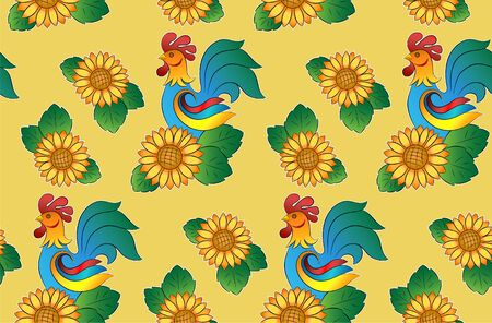 Seamless pattern with roosters and sunflowers on a yellow background. Template for wallpaper, packaging, textile, fabric. Illustration