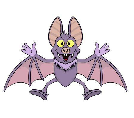 smiling cute cartoon bat vampire.vector illustration Illustration