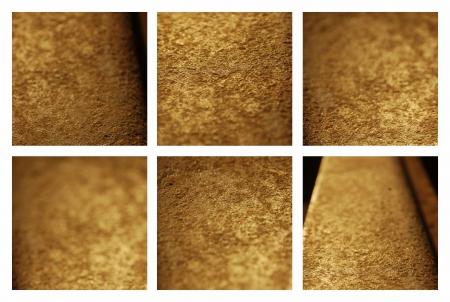 Set of six gold metal backgrounds  Gold textures closeup Stock Photo - 14656506