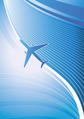 Stylized  illustration  Airplane on blue background with white lines  Isolated design element  Airliner, jet  Vector