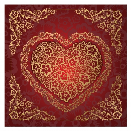 illustration of the red heart ornament  Stock Vector - 14656611