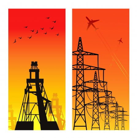 High voltage electricity pylon over sunset Stock Vector - 14655592