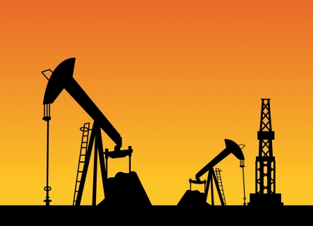 Oil rig and oil pump over sunset,  illustration Vector