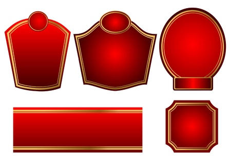 Five labels in set set of labels with red elements  Stock Vector - 14655590