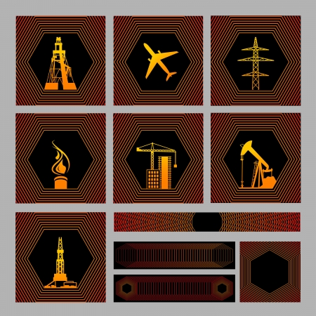 Seven icons pack with bagrounds  There are Images  drilling rig, aircraft, high-volt pylons, gas source, a tower crane, oil pump, drill tower  Also four examples of textures for bacground inside pack illustration  Vector