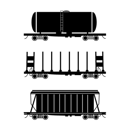 Set of three stylised wagons  The Hopper car, open wagon, tank car illustration Vector