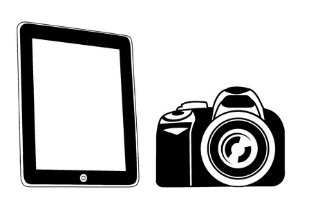 black tablet pad with a white screen and black camera -  illustration Stock Vector - 14655713