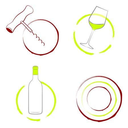 Wine set of the wineglass, bottle of wine and wine corkscrew isolated on white  illustration,  Vector