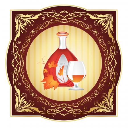 The cognac engraving on wood  Cognac set of the brandy glass, a bottle of cognac, grape leaves, engraved with ornament on wooden barrel illustration Vector