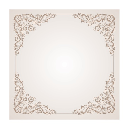 illustration of a vintage radial ornament in the square  Colourized of brown   illustration  Vector