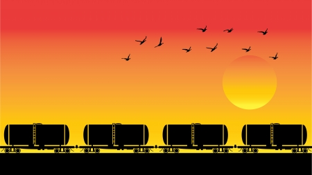 Tank wagons and birds over sunset, vector illustration Vector
