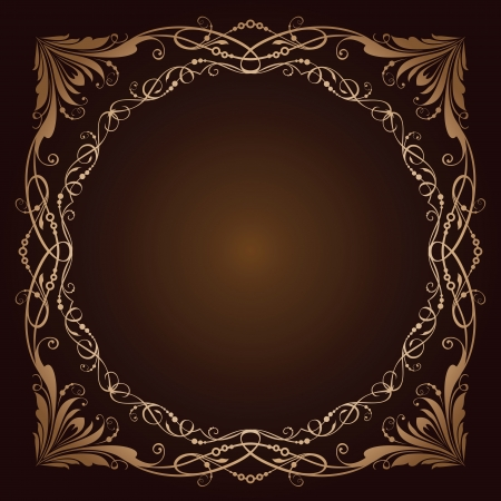 circular chain: illustration of vintage radial ornament over brown background. Colourized of brown.  illustration.