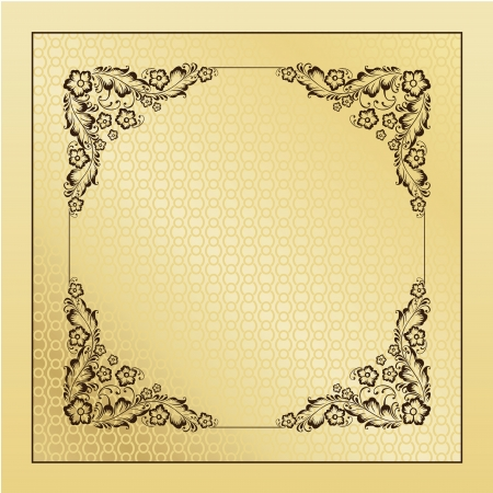 circular chain:  illustration of vintage ornament over brown ornamental background. Colourized of brown.  illustration. Illustration