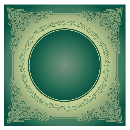 illustration of vintage ornament over green background. Colourized of green. illustration. Vector
