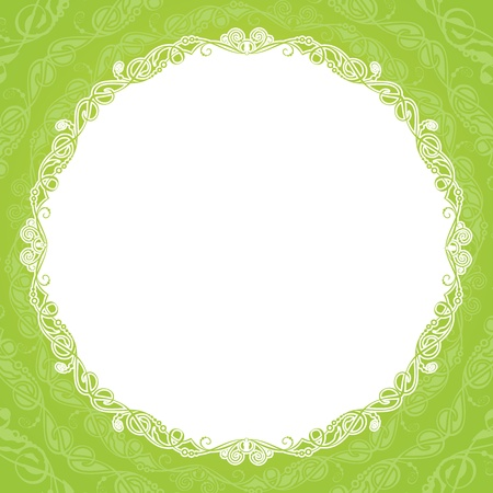 illustration of green vintage ornament over white background. Isolated.  illustration. Vector