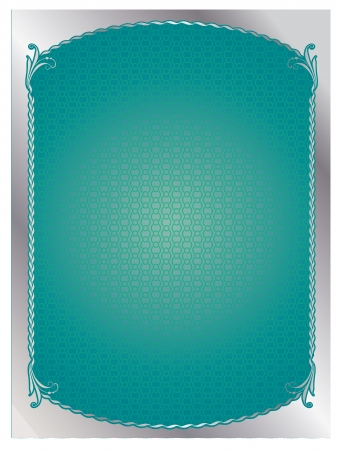 baroque picture frame: silver frame over green backround.  illustration.
