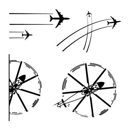 Set of transport aircrafts  Airplane, helicopter, lines of flight  illustration  Vector
