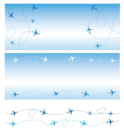 jets: Air travel  All lines are flight  of commercial airline passenger jets flying in air traffic