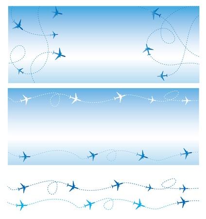 air traffic: El transporte a�reo Todas las l�neas son de vuelo de aviones comerciales de pasajeros a�reos que vuelan en el tr�fico a�reo Vectores