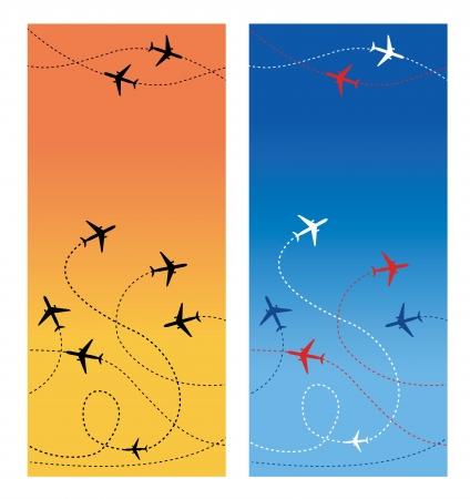 air travel: Air Travel verticale Due carte tutta linee sono volo di jet commerciali passeggeri delle compagnie aeree che volano in traffico aereo Vettoriali