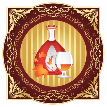 The cognac engraving on wood  Cognac set of the brandy glass, a bottle of cognac,  leaves, engraved with ornament on wooden barrel   illustration,  Stock Vector - 14699233
