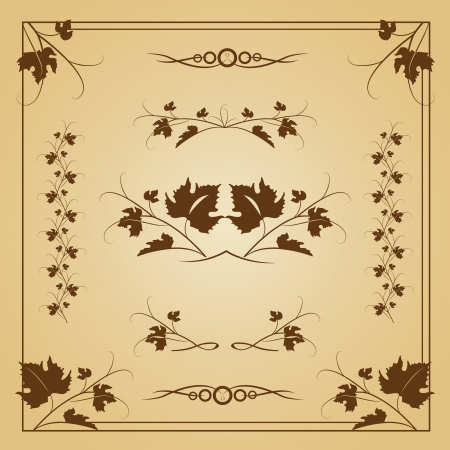 leaves and borders on seamless retro background, illustration Stock Vector - 14699223