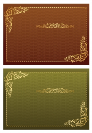 Lace Round Frame and borders on seamless retro background Vector