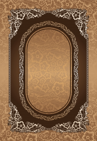 Beautiful floral illustration on brown background  Ornament engraved on wooden desk  illustration  Vector