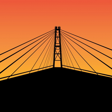 Cable-stayed bridge contour over sunset illustration  Vector