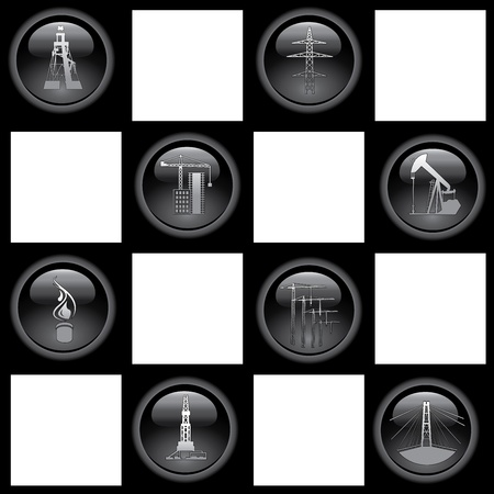Industry icons  Set of the eight icons  chess  Vector illustration  Vector