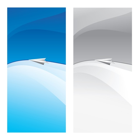 high angle view: Paper plane flying. Two vertical cards at blue and gray color.illustration.