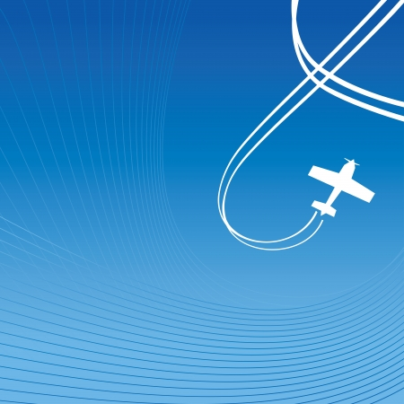 Plane with white line of track over blue background. illustration. Vector