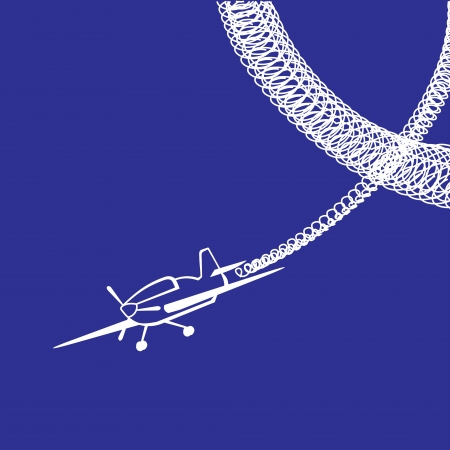 Plane with white rounded track over blue background.  illustration. Vector