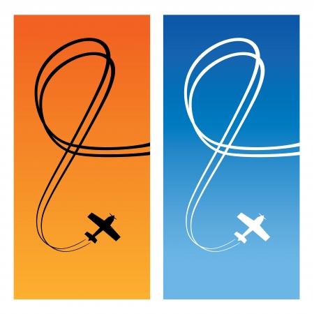 Plane with line of track over blue and orange background. Vertical card.  illustration.