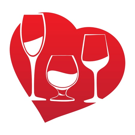 Wine glass inside red heart shape  Vector illustration  Vector