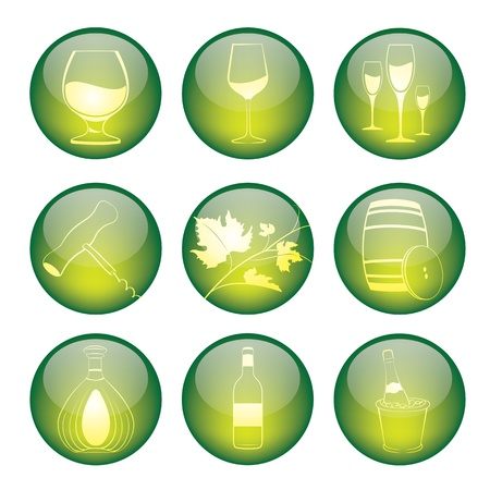 illustration of coloured glossy and shiny winery sphere icon  Vector