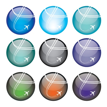 illustration of coloured glossy and shiny airplane sphere icon  Vector