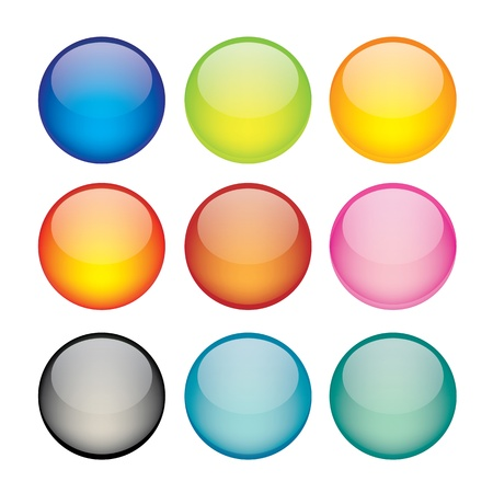 illustration of coloured glossy and shiny network sphere icon  Vector