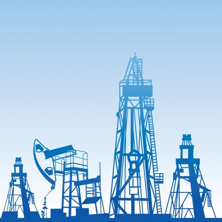 Oil rig silhouettes and blue sky,  illustration Vector
