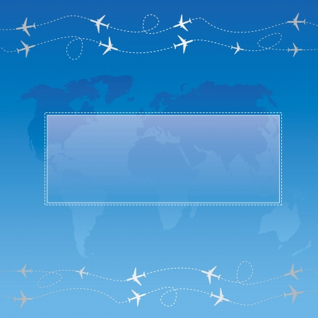 Blue bubble for speech over globe map with airplanes ornament  Website elements  Vector illustration  Vector