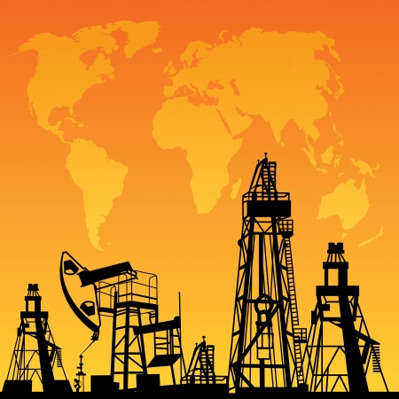 White World Map, Oil rig and oil pump  Vector