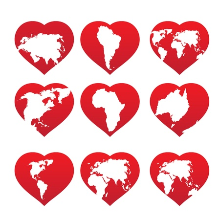 Continents inside red heart frame   illustration Stock Vector - 14850556