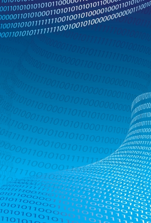 Abstract binary code background  Light text on blue  illustration  Illustration