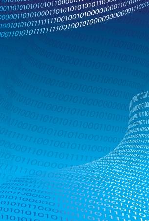 C�digo Fundo claro texto bin�rio abstrato na ilustra��o azul